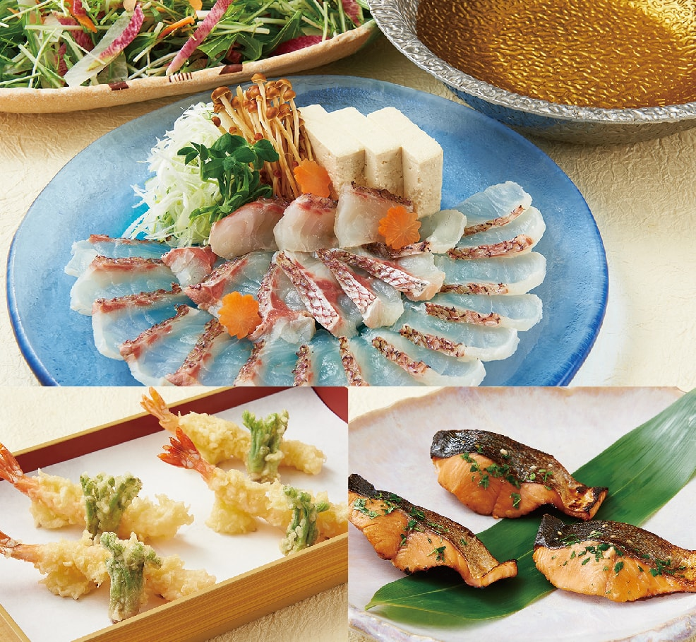 産地直送 季節の鮮魚しゃぶしゃぶコース【8品】